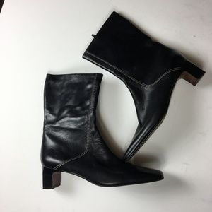 Cole Haan Black Leather Kitten Heel Ankle Boots
